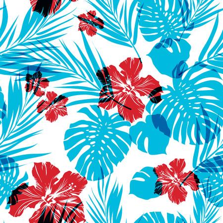 hawaiana: Patrón de verano inconsútil brillante con hojas de palmeras y flores de hibisco, cian y magenta efecto de superposición
