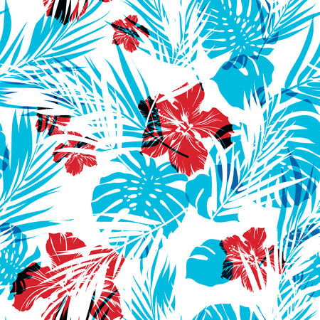Bright seamless summer pattern with palm tree leaves and hibiscus flowers, cyan and magenta overlay effect, neo camouflage effect Vectores