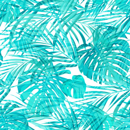 blue prints: Seamless neo camouflage tropical summer pattern, vector illustration