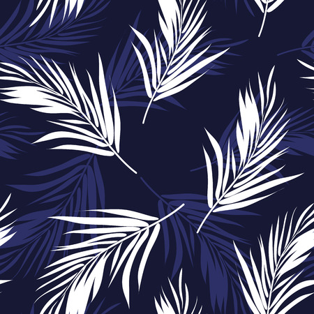 Dark blue and white seamless graphic pattern with palm tree leaves, vector illustration, feathers imitation Banco de Imagens - 40926990