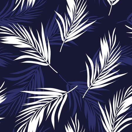 Donkerblauw en wit naadloze grafisch patroon met palmboom bladeren, vector illustratie, veren imitatie