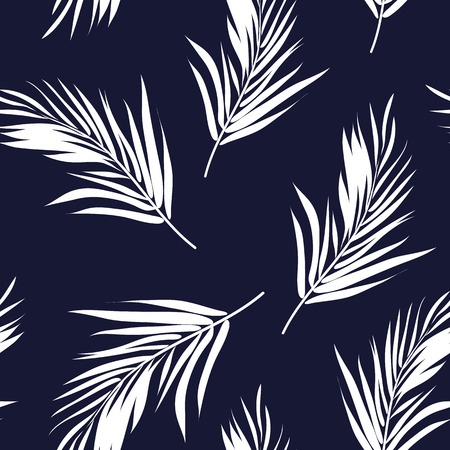 Dark blue and white seamless graphic pattern with palm tree leaves, vector illustration, feathers imitation