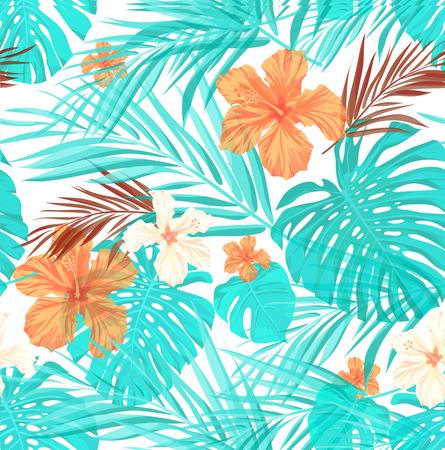 야자 나무 잎과 히비스커스 꽃, 약간의 오버레이 효과와 밝은 원활한 여름 패턴