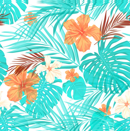 Bright seamless summer pattern with palm tree leaves and hibiscus flowers, slight overlay effect
