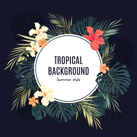 Summer tropical hawaiian background or flyer with jungle palm tree leaves and exotic flowers, space for text, vector illustration. Çizim