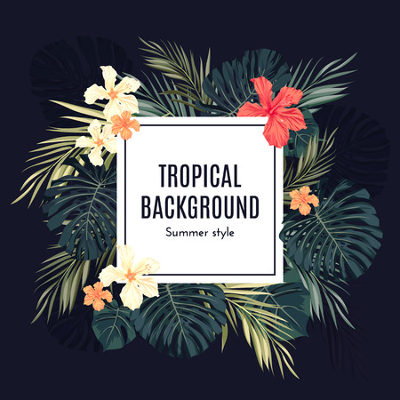 Summer tropical hawaiian background with palm tree leavs and exotic flowers, space for text, vector illustration.