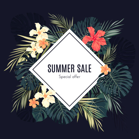 Summer tropical hawaiian sale background with palm tree leavs and exotic flowers, space for text, vector illustration. Çizim