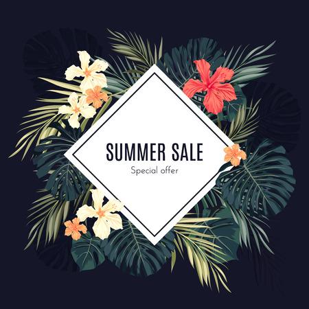 ropa de verano: Verano fondo tropical venta hawaiano con leavs de palmeras y flores ex�ticas, el espacio para el texto, ilustraci�n vectorial.