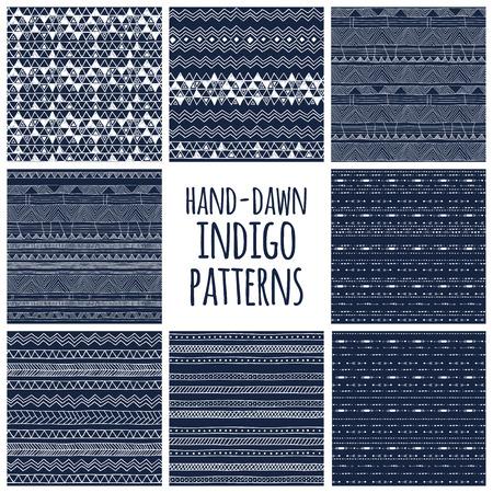 tribales: Conjunto de ocho índigo dibujados a mano sin costura diseños textura azul y blanco para los fondos, ilustración vectorial