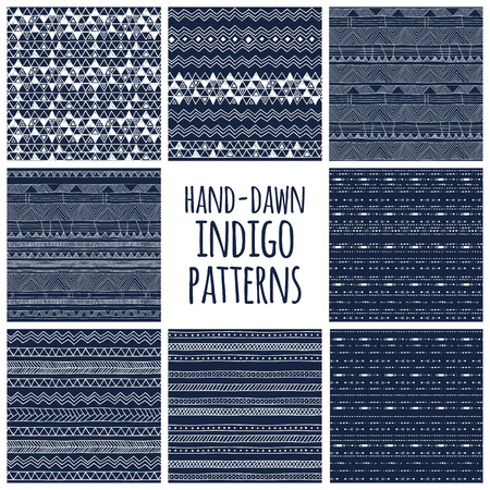 Set of eight indigo blue and white seamless hand drawn texture designs for backgrounds, vector illustration Stock Illustratie