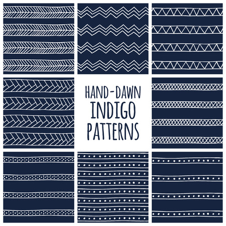 zen: Set of eight indigo blue and white seamless hand drawn texture designs for backgrounds, vector illustration Illustration