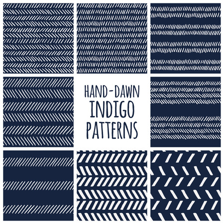 Set of eight indigo blue and white seamless hand drawn texture designs for backgrounds, vector illustration Banco de Imagens - 41331363