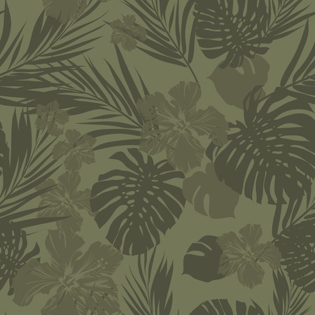 Summer camouflage hawaiian seamless pattern with tropical plants and hibiscus flowers, vector illustration 向量圖像