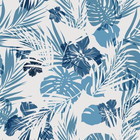 mezclilla: Camuflaje Modelo inconsútil del verano hawaiano con plantas tropicales y flores de hibisco, ilustración vectorial Vectores