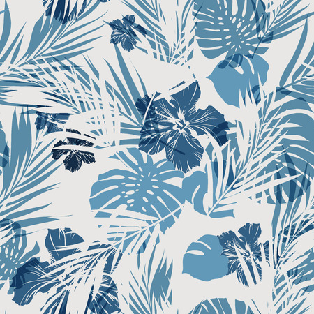 indigo: Summer camouflage hawaiian seamless pattern with tropical plants and hibiscus flowers, vector illustration Illustration