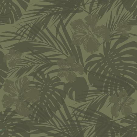 camouflage d'été hawaïen pattern avec des plantes tropicales et des fleurs d'hibiscus, illustration vectorielle