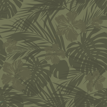 Summer camouflage hawaiian seamless pattern with tropical plants and hibiscus flowers, vector illustration Иллюстрация