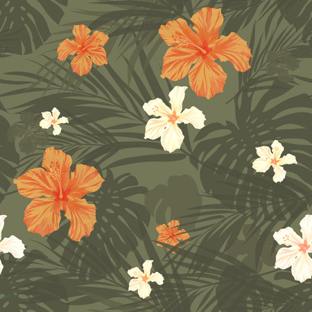 hawaiian: Summer camouflage hawaiian seamless pattern with tropical plants and hibiscus flowers, vector illustration Illustration