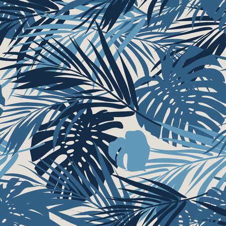 Summer camouflage hawaiian seamless pattern with tropical plants and hibiscus flowers, vector illustration Çizim