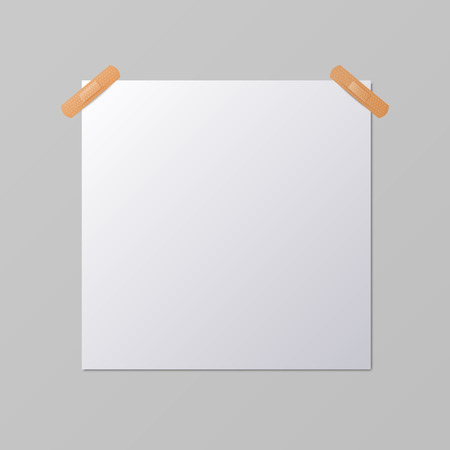 paper sheets: White blank square sheet of piece of paper taped to the wall with a piece of plaster, vector mock-up illustration