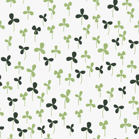 Seamless hand-drawn doodle floral pattern with clover. Vector illustration. Garden story collection.