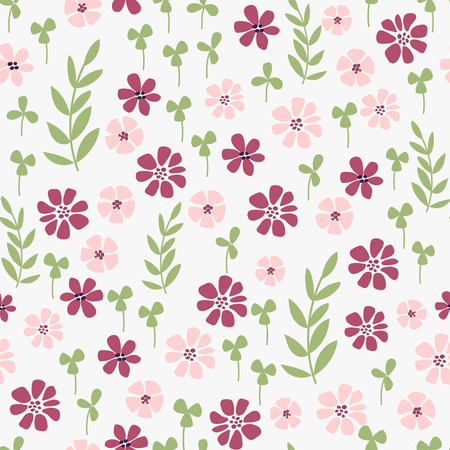 Seamless hand-drawn doodle floral pattern with lots of plants and flowers. Vector illustration. Garden story collection.