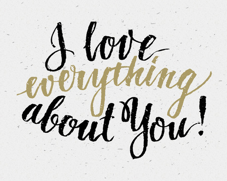 love: Hand drawn love quote, retro typography, script calligraphy handlettering style