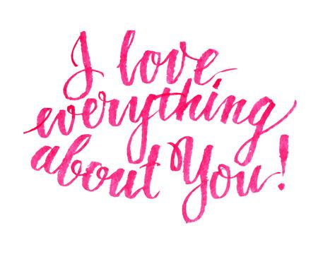 magenta: Hand drawn love quote brush lettering, illustration