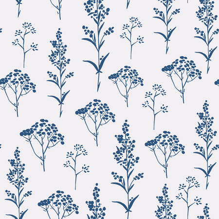 Simple basic pattern with herbs and seasonings, Meadow Herbs collection, vector textile design.