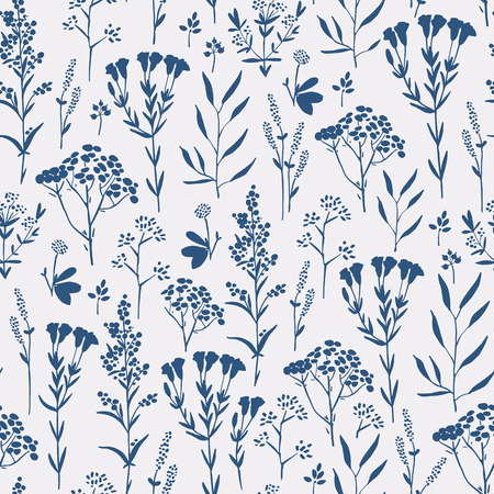 Seamless pattern with herbs and seasonings, Meadow Herbs collection, vector textile design. Banco de Imagens - 43585847