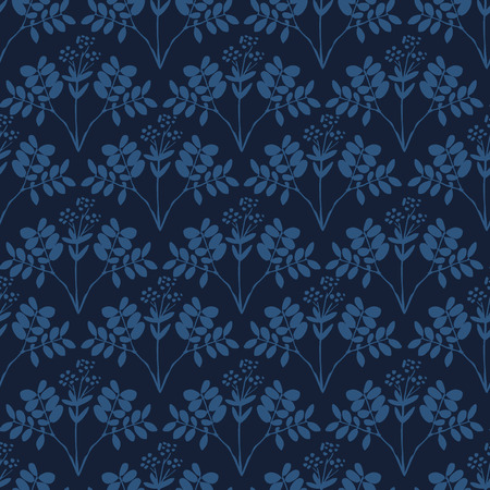 Seamless pattern with herbs and seasonings, Meadow Herbs collection, vector textile design. Ilustração