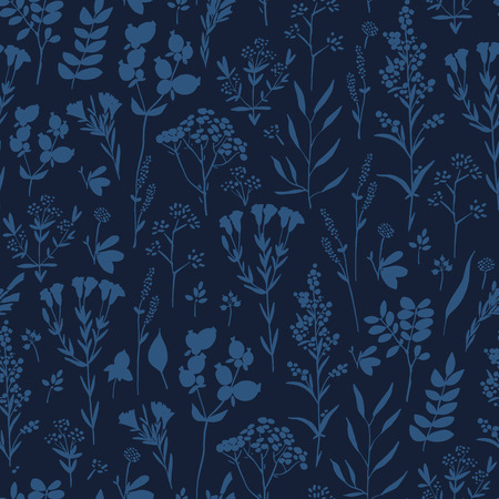 tarragon: Seamless pattern with herbs and seasonings, Meadow Herbs collection, vector textile design. Illustration