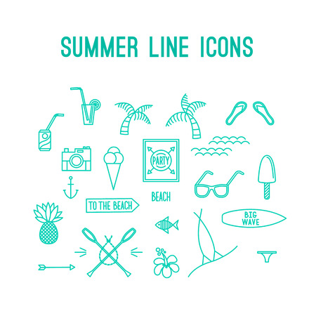 resort beach: Summer line icon set. Beach and sea resort vacation design elements. Vector Illustration.