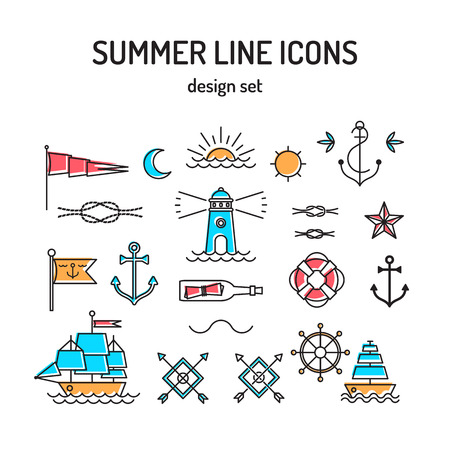 sunrise ocean: Summer line icon set. Nautical design elements in retro tattoo style. Vector Illustration. Illustration
