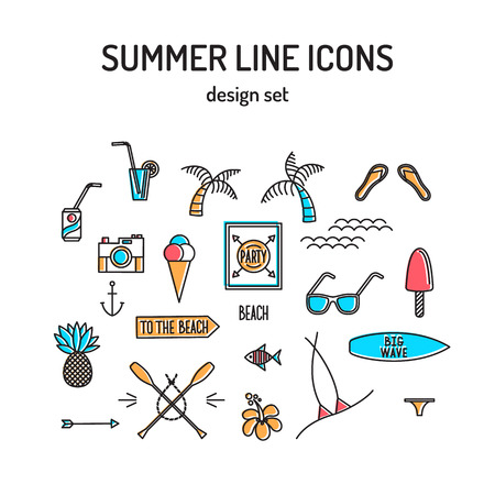 retro party: Summer line icon set. Beach and sea resort vacation design elements. Vector Illustration.