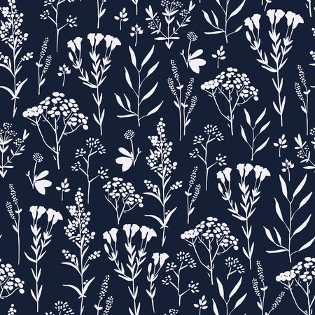 color range: Seamless pattern with herbs and floral motifs in indigo color range, Meadow Herbs collection, vector textile design.
