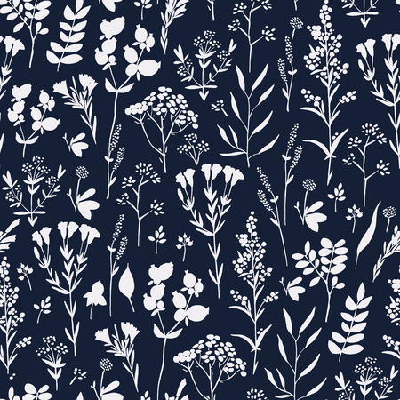 Seamless pattern with herbs and floral motifs in indigo color range, Meadow Herbs collection, vector textile design.