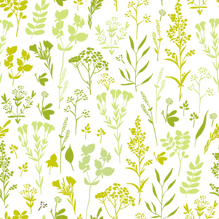 Seamless pattern with herbs and floral motifs, Meadow Herbs collection, vector textile design. Иллюстрация