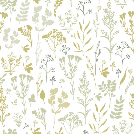 brige: Seamless pattern with herbs and floral motifs, Meadow Herbs collection, vector textile design. Illustration