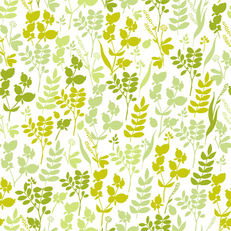 Seamless pattern with herbs and floral motifs, Meadow Herbs collection, vector textile design. Ilustração