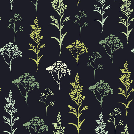 tarragon: Seamless pattern with herbs and floral motifs, Meadow Herbs collection, vector textile design. Illustration