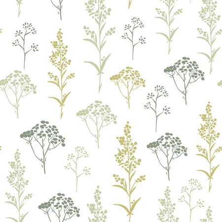 mustard plant: Seamless pattern with herbs and floral motifs, Meadow Herbs collection, vector textile design. Illustration