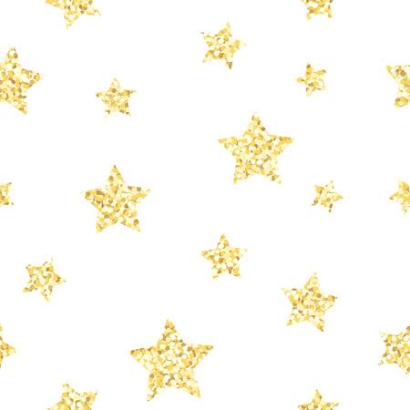 New Year seamless gometric pattern with golden glitter textured stars, vector illustration