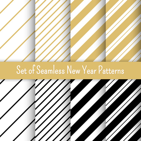 Set of  New Year party patterns, vector illustration. For banners and invitations.