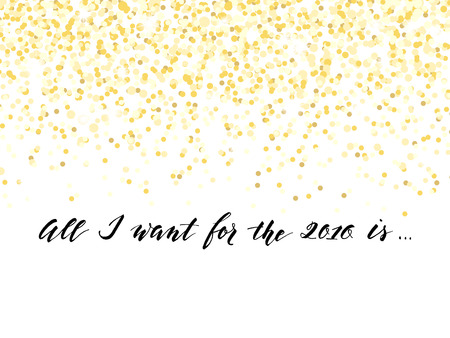 New Year card or invitation design with golden confetti and handlettering, vector illustration