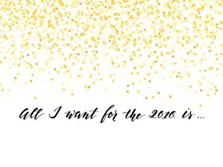 textura oro: Tarjeta del A�o Nuevo o el dise�o de la invitaci�n con confeti y handlettering de oro, ilustraci�n vectorial