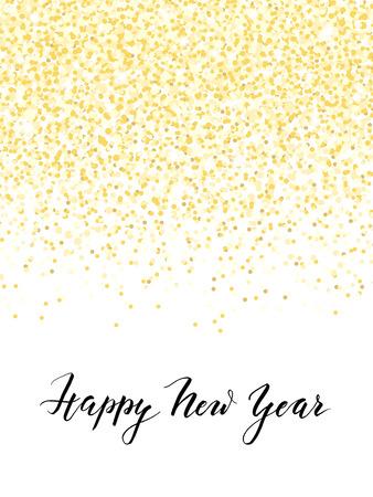 Cartão do ano novo ou projeto do convite com confetes dourados e handlettering, ilustração vetorial