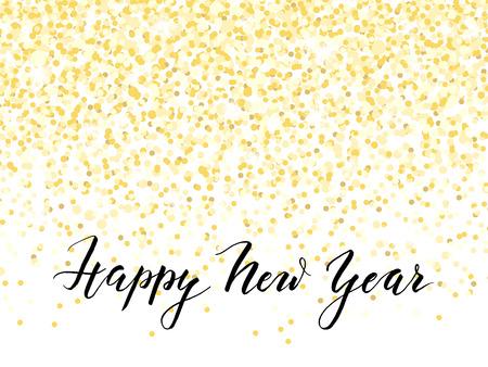 Nieuwjaarskaart of uitnodiging ontwerp met gouden confetti en handlettering, vector illustratie Vector Illustratie