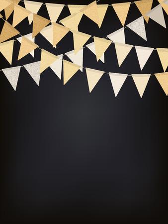 Birthday background with golden flag garlands on the chalkboard, vector illustration Ilustração