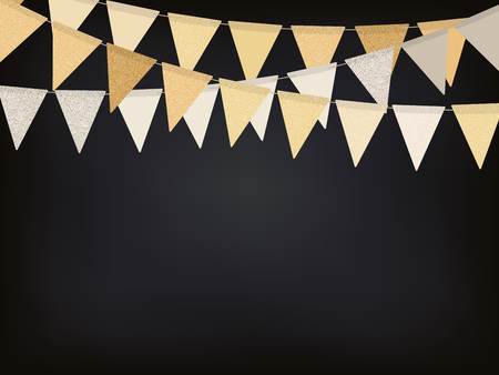 Birthday background with golden flag garlands on the chalkboard, vector illustration Illustration